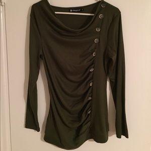 NWOT Olive green cowl neck shirt